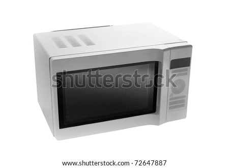 microwave oven isolated on a white background - stock photo