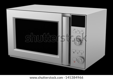 microwave oven isolated on black background
