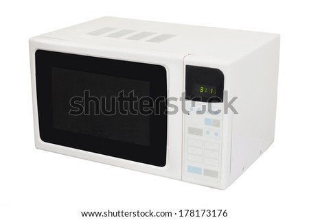 microwave oven isolated under the white background - stock photo