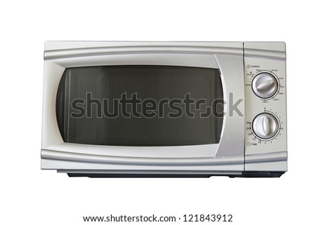 Microwave oven shot over white, modern stainless steel design - stock photo