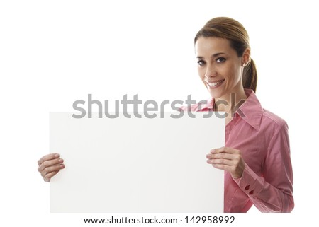 mid adult business woman smiling at camera and holding blank bill with copy space on white background - stock photo