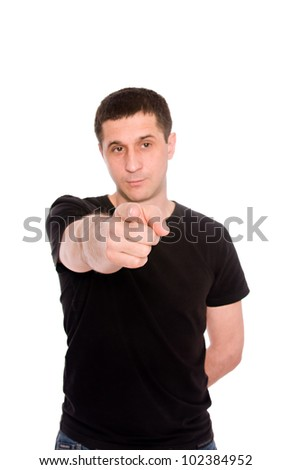 mid adult man shows a hand something isolated on white background - stock photo