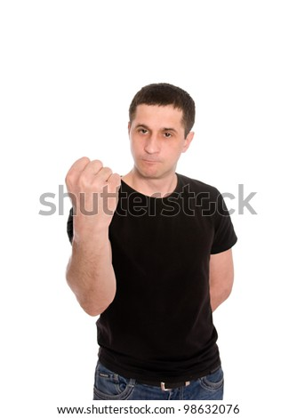 mid adult man shows the fist  isolated on white background - stock photo