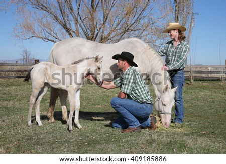 mid-adult woman bonding with white horse and foal - stock photo