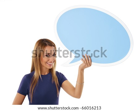 mid adult woman holding blank speech bubble on white background. Horizontal shape, front view, waist up, copy space - stock photo