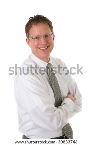 Mid-age Businessman Smiling Portrait on Isolated White