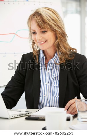 Mid age businesswoman at work