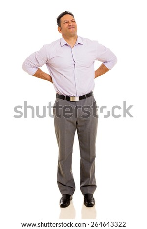 mid age man having backache isolated on white - stock photo