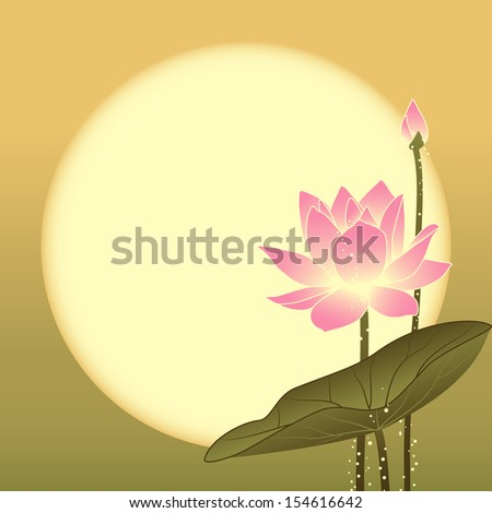 Mid Autumn Festival Lotus Flower on Full Moon Background - stock photo