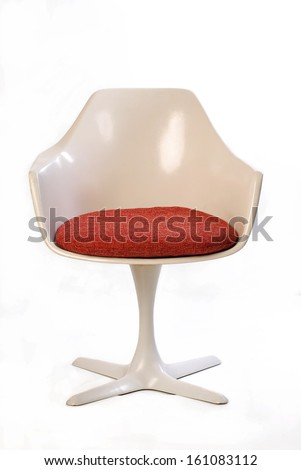 mid century tulip chair isolated on white - stock photo