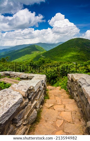 Mid-day view of the Appalachian Mountains  from Craggy Pinnacle, near the Blue Ridge Parkway in North Carolina. - stock photo