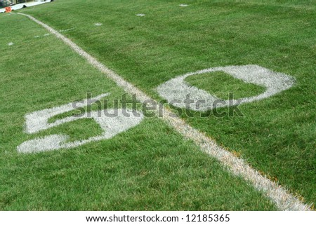 mid field on a football field - stock photo