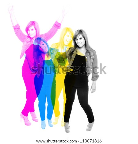Mid 20s woman posing in a variety of poses and overlapped in Cyan Yellow Magenta and Black color hues. - stock photo