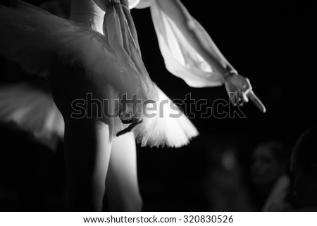 Mid section of an athletic ballerina body in tutu - stock photo