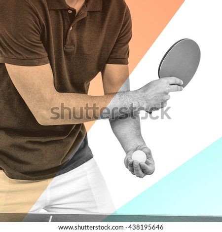 Mid section of athlete man playing table tennis against yellow and blue - stock photo