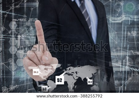 Mid section of businessman pointing something up against hologram background