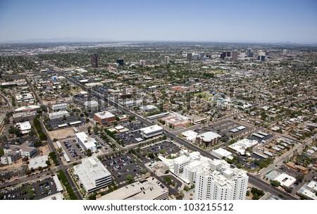 Mid Town Phoenix, Arizona skyline aerial view - stock photo