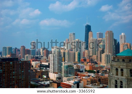 midday chicago - stock photo