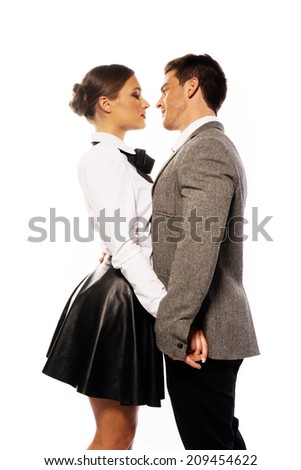 Middle Age Couple Close Face to Face Wearing Modern Fashion Attire. Isolated on White Background. - stock photo