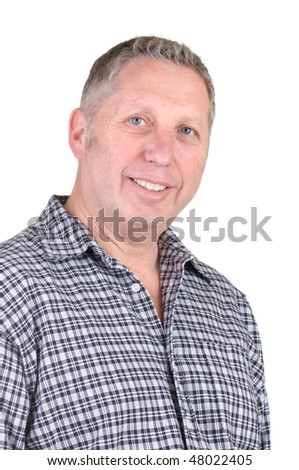 Middle age man in casual shirt smiling