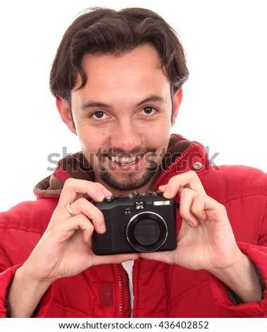 Middle age man with an analog camera - stock photo