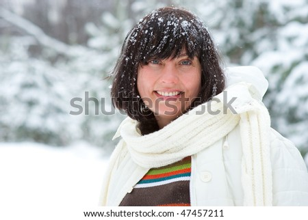 Middle age woman portrait in a winter nature