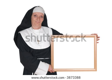 Middle aged advertising sister, nun.  Religion, christianity, lifestyle, advertising, communication concept. Copy space - stock photo