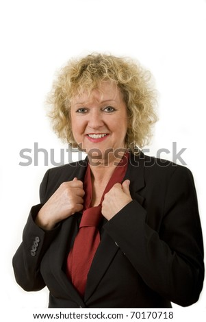 middle aged business female portrait isolated