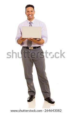 middle aged businessman holding laptop isolated on white background - stock photo