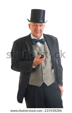 Middle aged  businessman in a retro business suit with smoking pipe isolated on white - stock photo