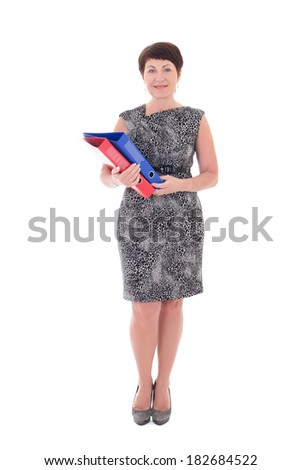 middle aged businesswoman isolated on white background - stock photo
