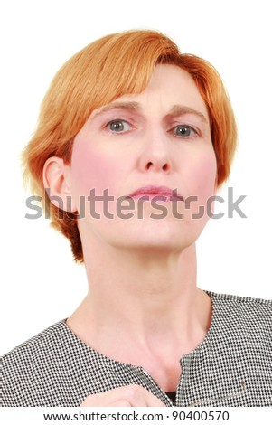 Middle-aged caucasian woman in business suit - stock photo