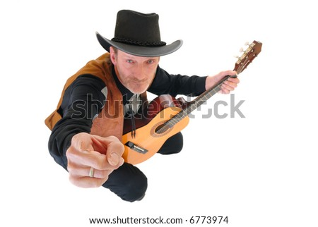 Middle aged country and western singer man with traditional outfit posing with guitar.  White background