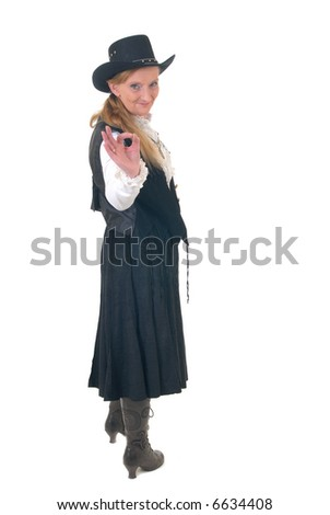 Middle aged country and western  woman with traditional giving okay sign. Big smile on face. White background
