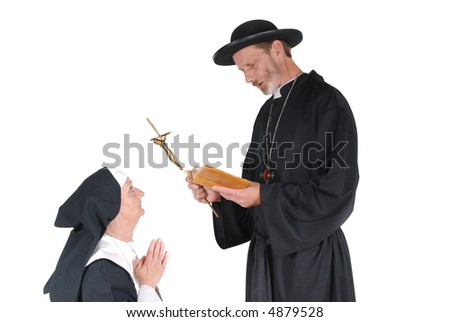 Middle aged devout nun and priest in deep thoughts, praying.  Religion, christianity, lifestyle concept - stock photo