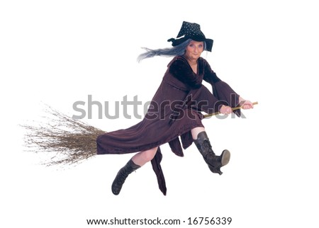 Middle aged Halloween witch flying on broom. Studio, white background. - stock photo