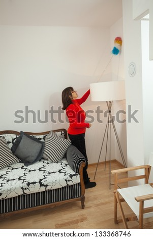 Middle aged housewife dusting wall in her living room - stock photo