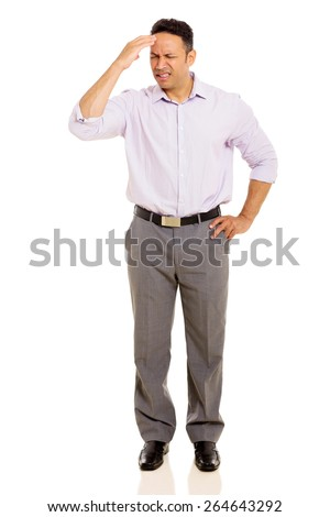 middle aged man having headache isolated on white - stock photo
