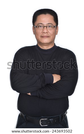 Middle Aged Man in black dress with sunglasses posing - stock photo