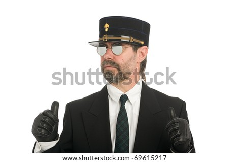 Middle aged man in the uniform of the French police gesticulating hands. - stock photo