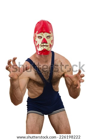 middle aged man with professional wrestling mask on white background - stock photo