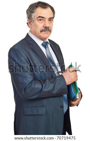 Middle aged manager holding folders and pencil isolated on white background - stock photo