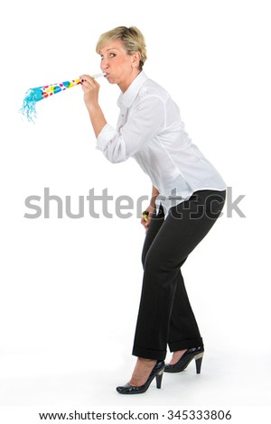 middle aged manager woman blowing through a trumpet
