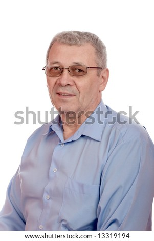 middle-aged smiling man wearing glasses isolated on white - stock photo