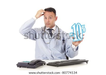 Middle aged successful caucasian man doctor holding up a health care sale sign, 10 % ,  Studio shot. White background - stock photo