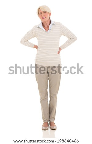 middle aged woman having back pain isolated on white background