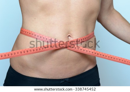 Middle aged woman measuring her waist against grey wall Background