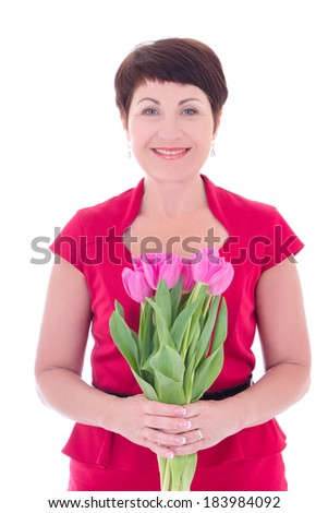 middle aged woman with flowers isolated on white background - stock photo