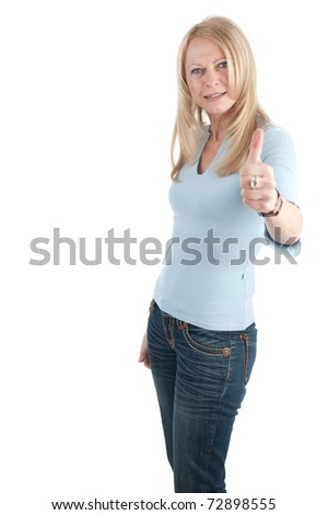 Middle aged woman with thumb up on white background