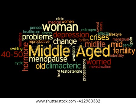 Middle aged woman, word cloud concept on black background.
